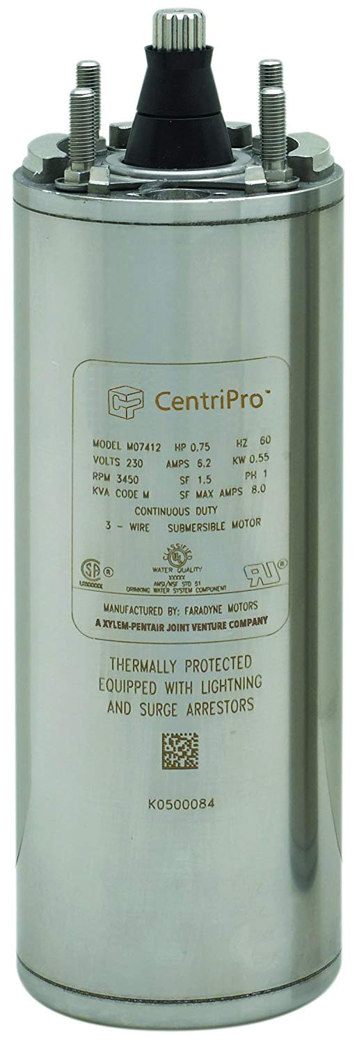 "Goulds Water Technology CentriPro M05412 4"" 3 Wire Submersible Motor.  1/2HP, 230V, 1 Phase."