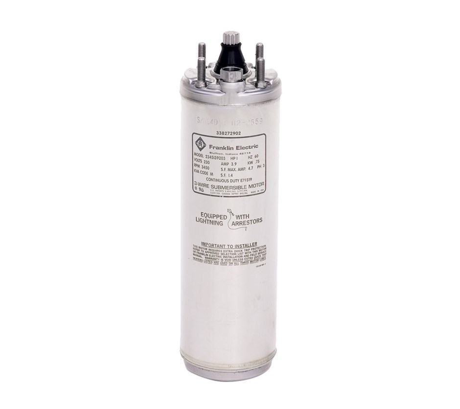 "Franklin Electric 4"" 3 Phase Submersible Motor 5 HP, 200V"