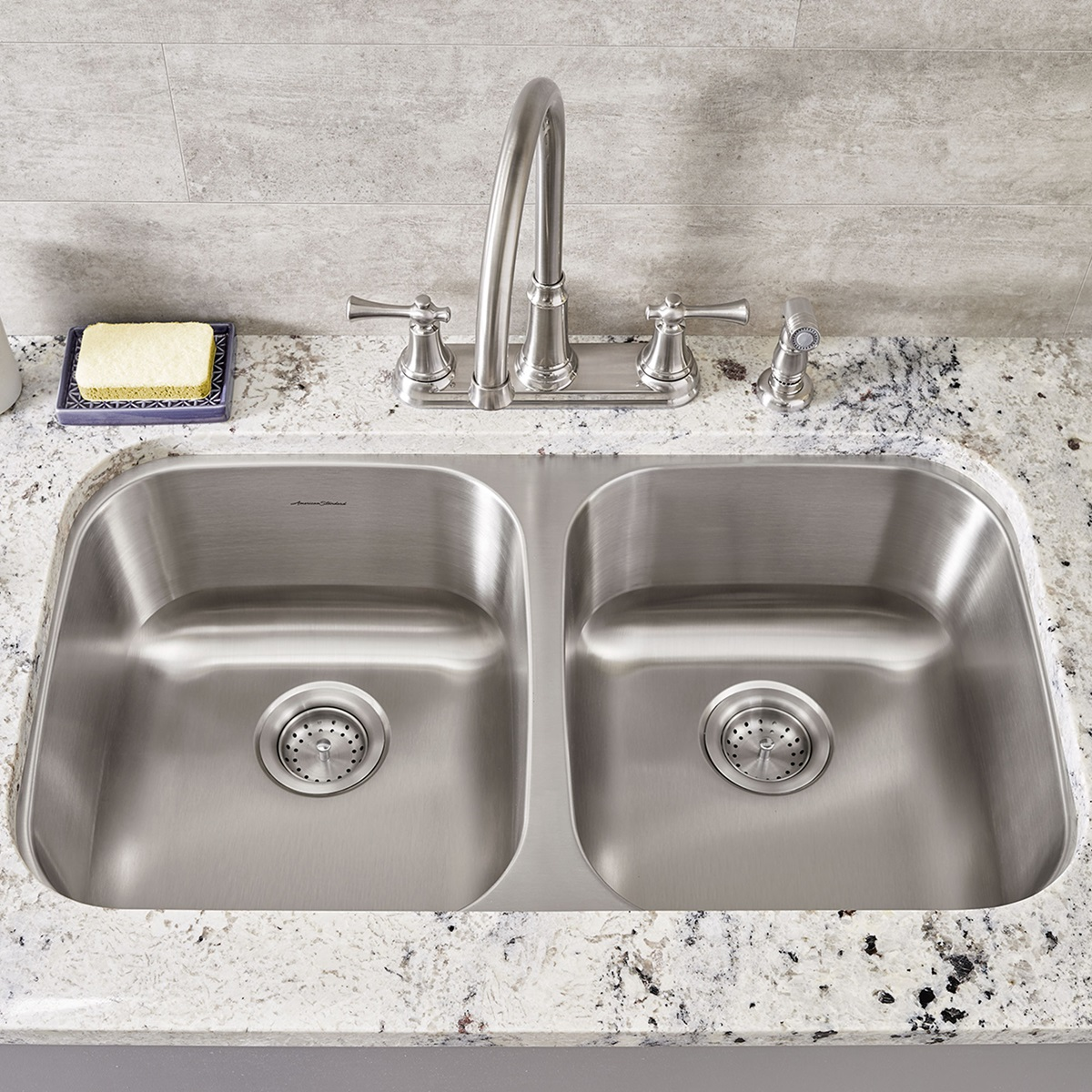 Portsmouth 32x18 Double Bowl Stainless Steel Kitchen Sink