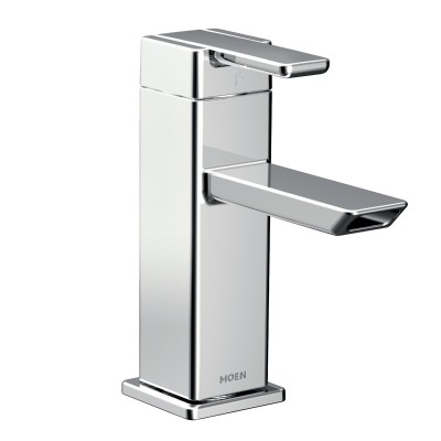 90 Degree Chrome One-Handle Low Arc Bathroom Faucet